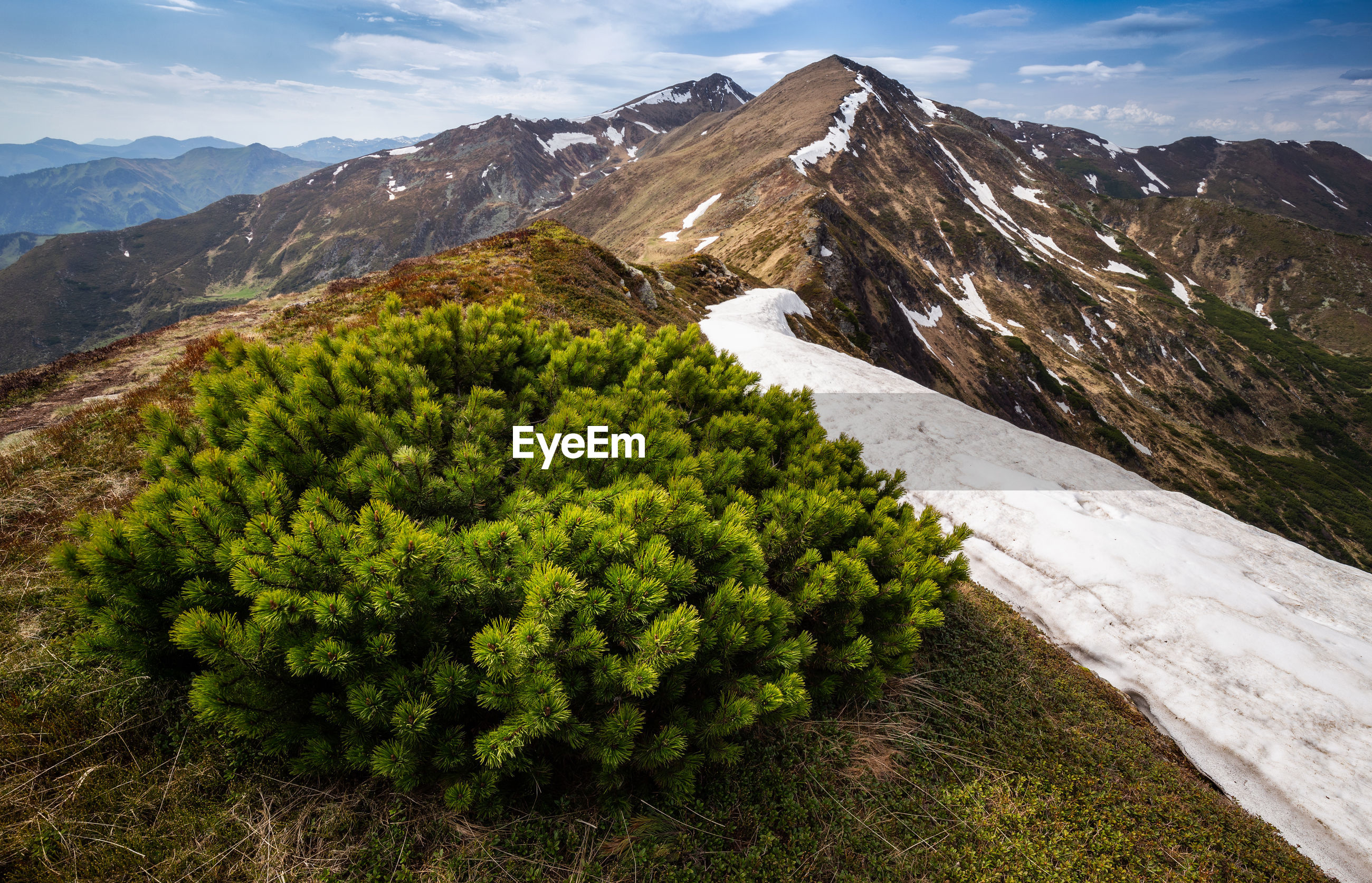 Scenic view of snowcapped mountains against sky in rodnei mountains