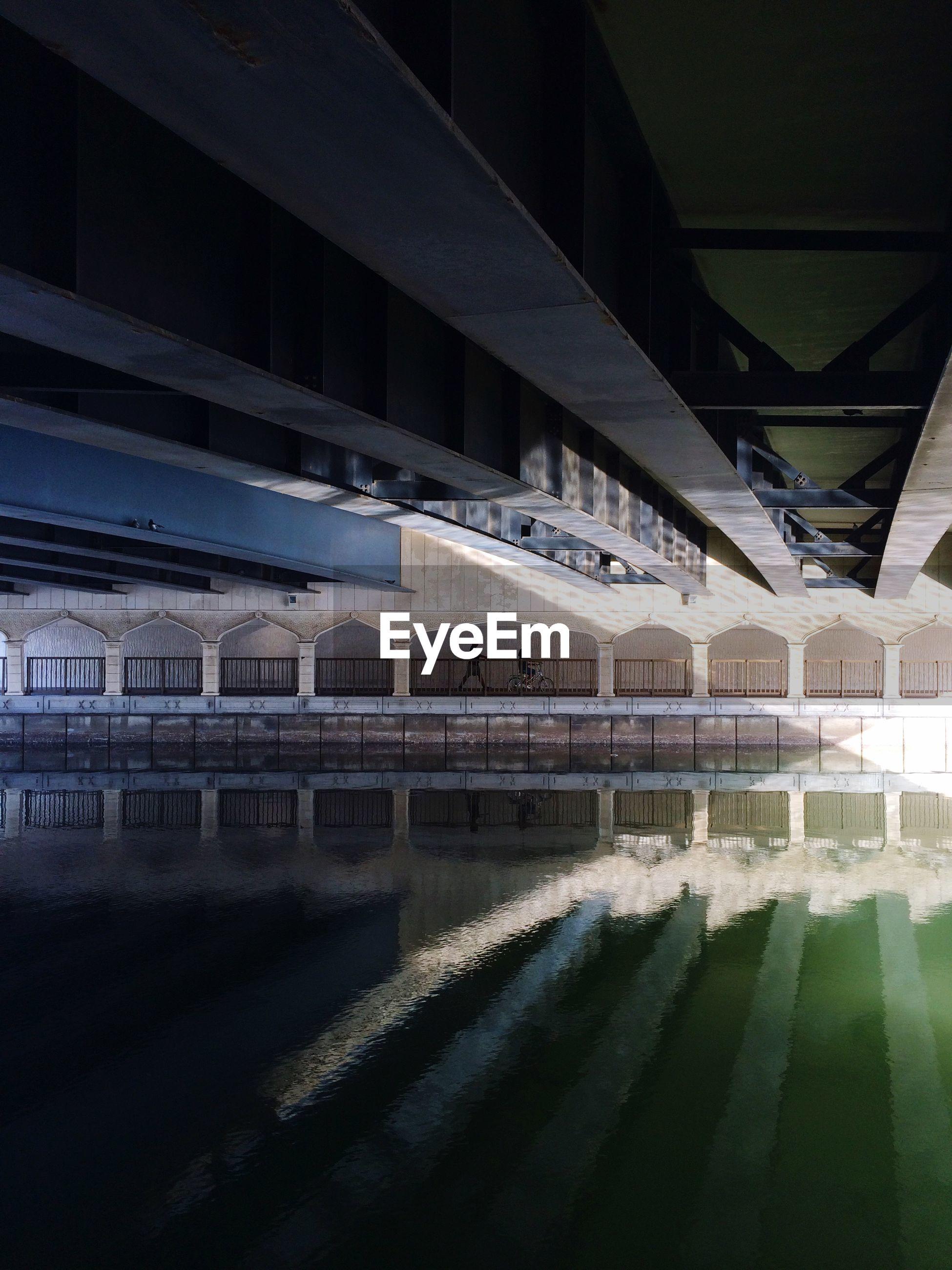 Underneath view of bridge over river