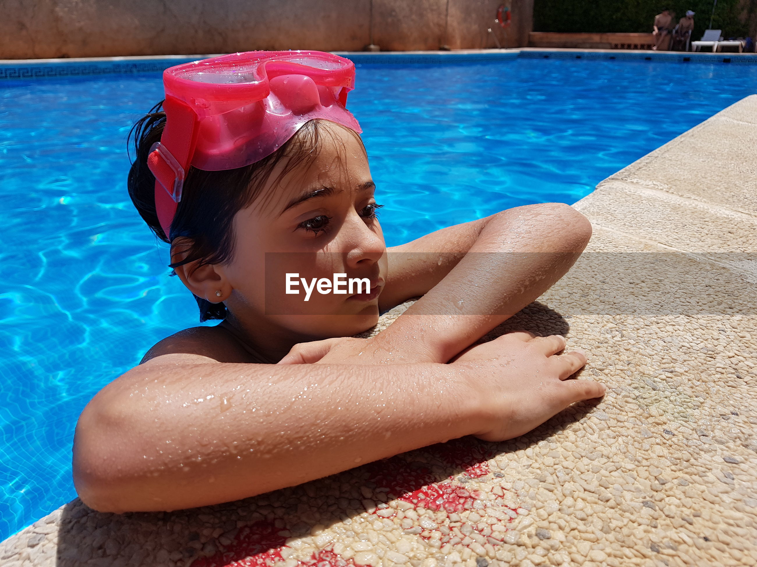 Close-up of thoughtful in swimming pool
