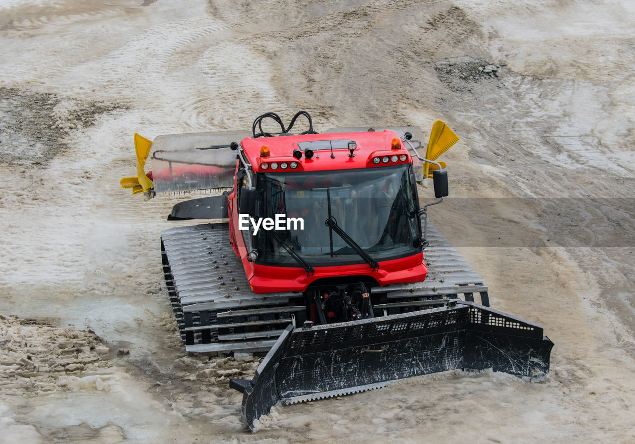 High Angle View Of Construction Machinery