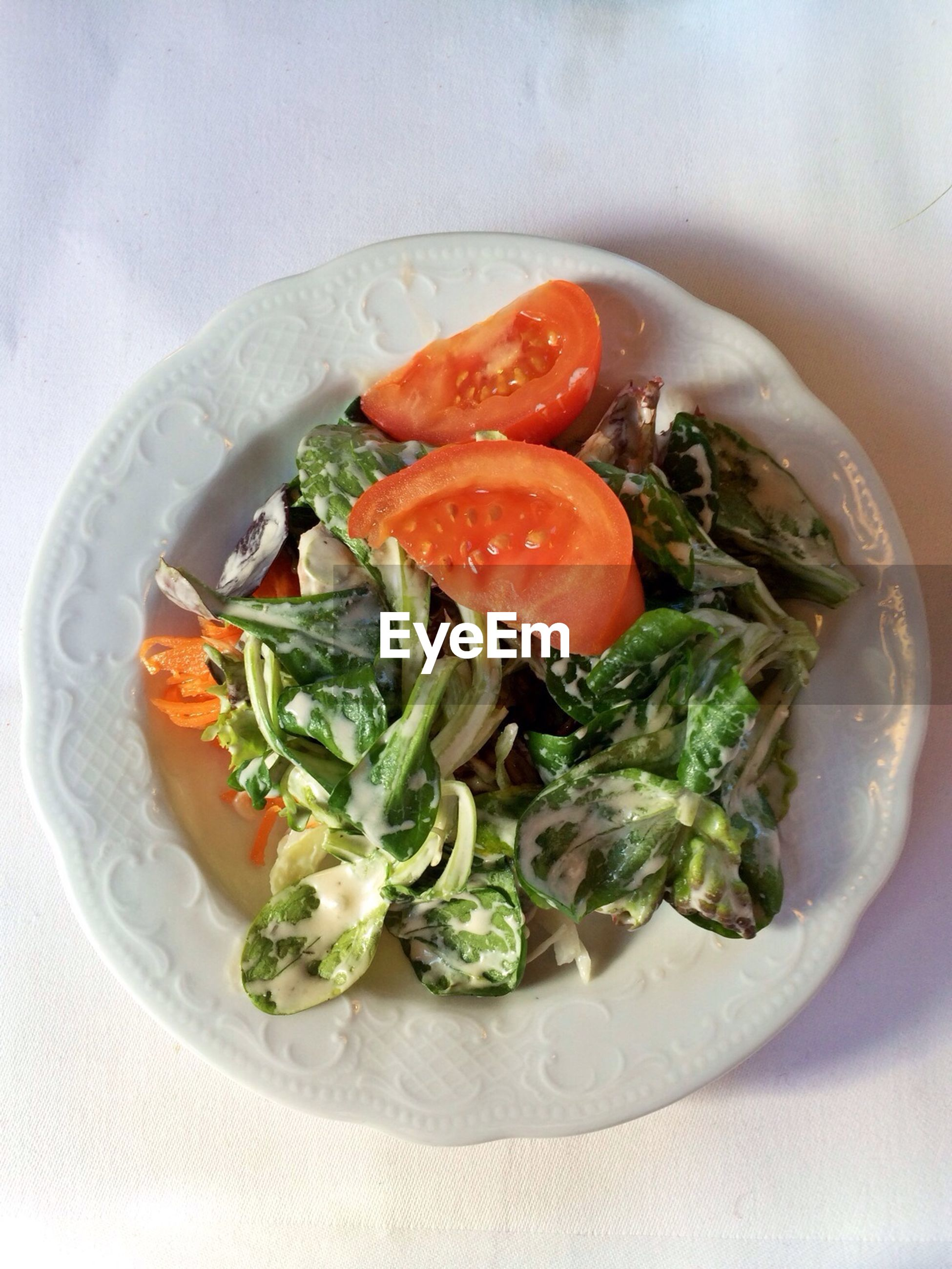 Elevated view of salad with tomato