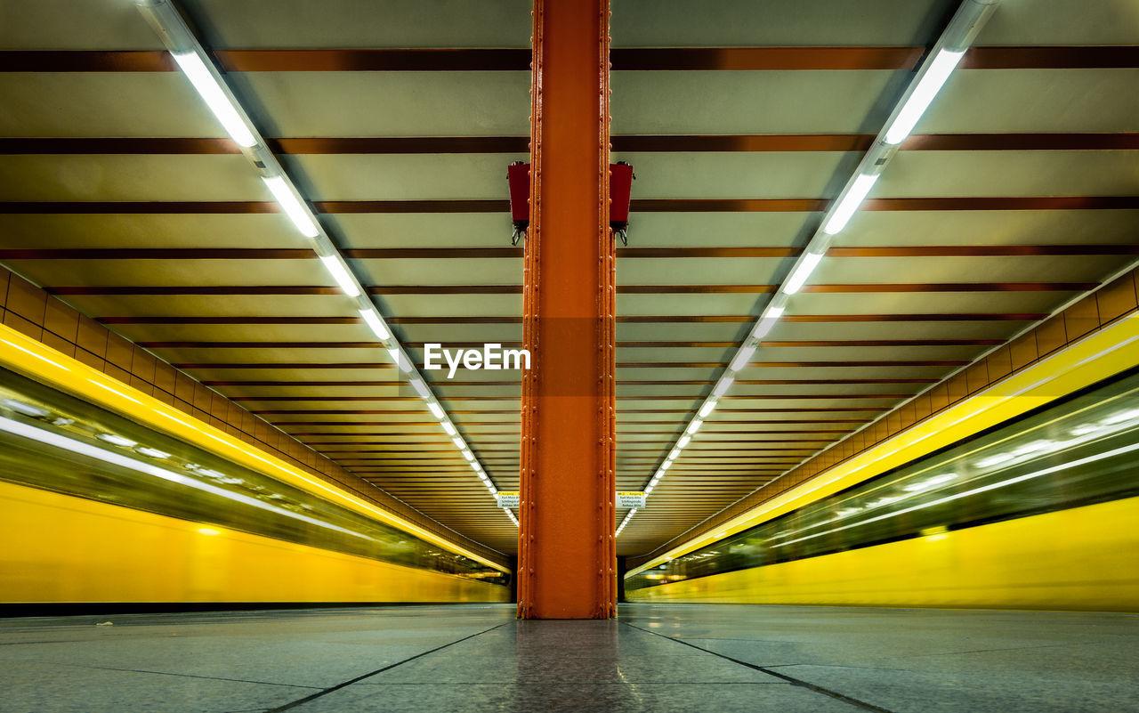Speeding Blurred Trains At Underground Railway Station