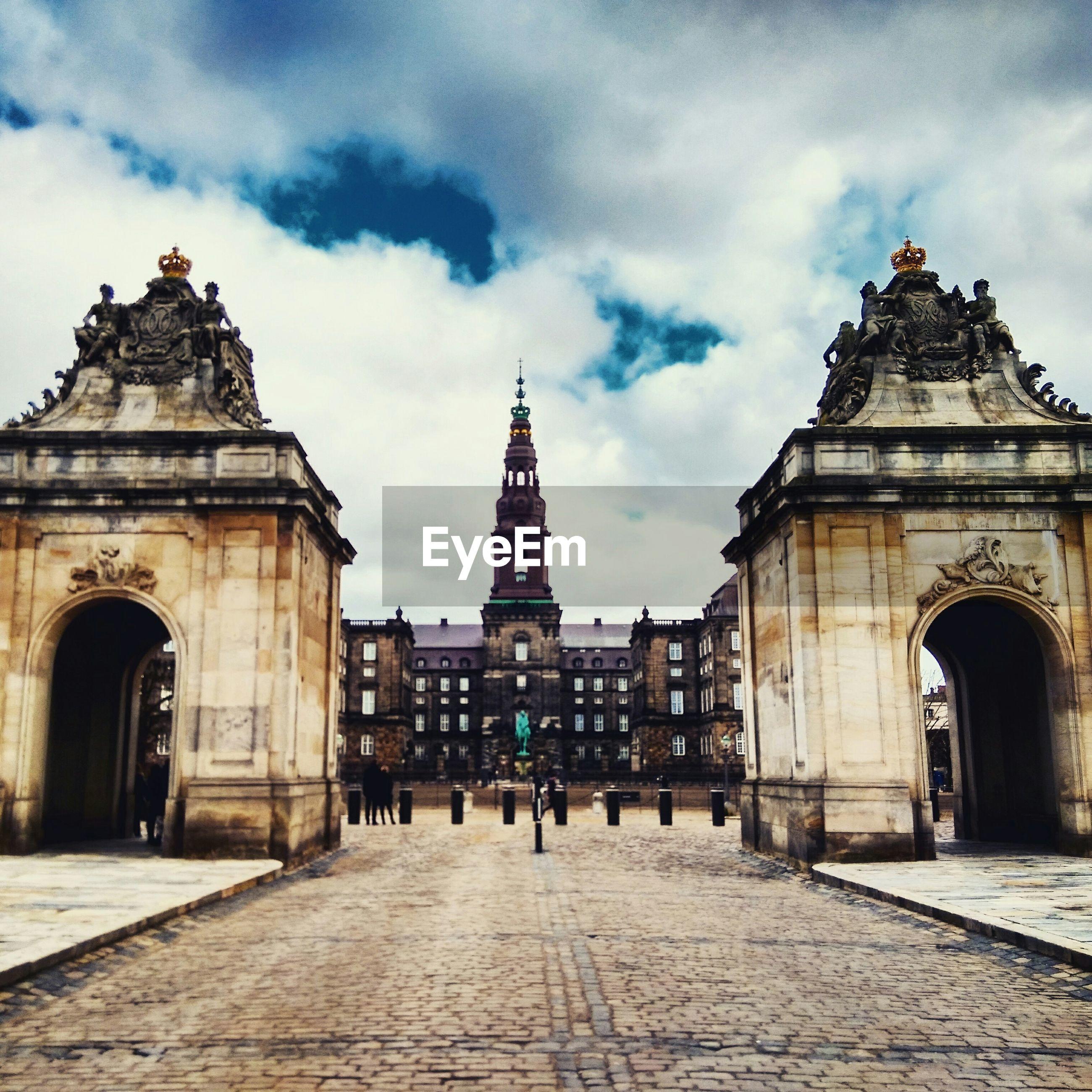 Christiansborg palace against cloudy sky
