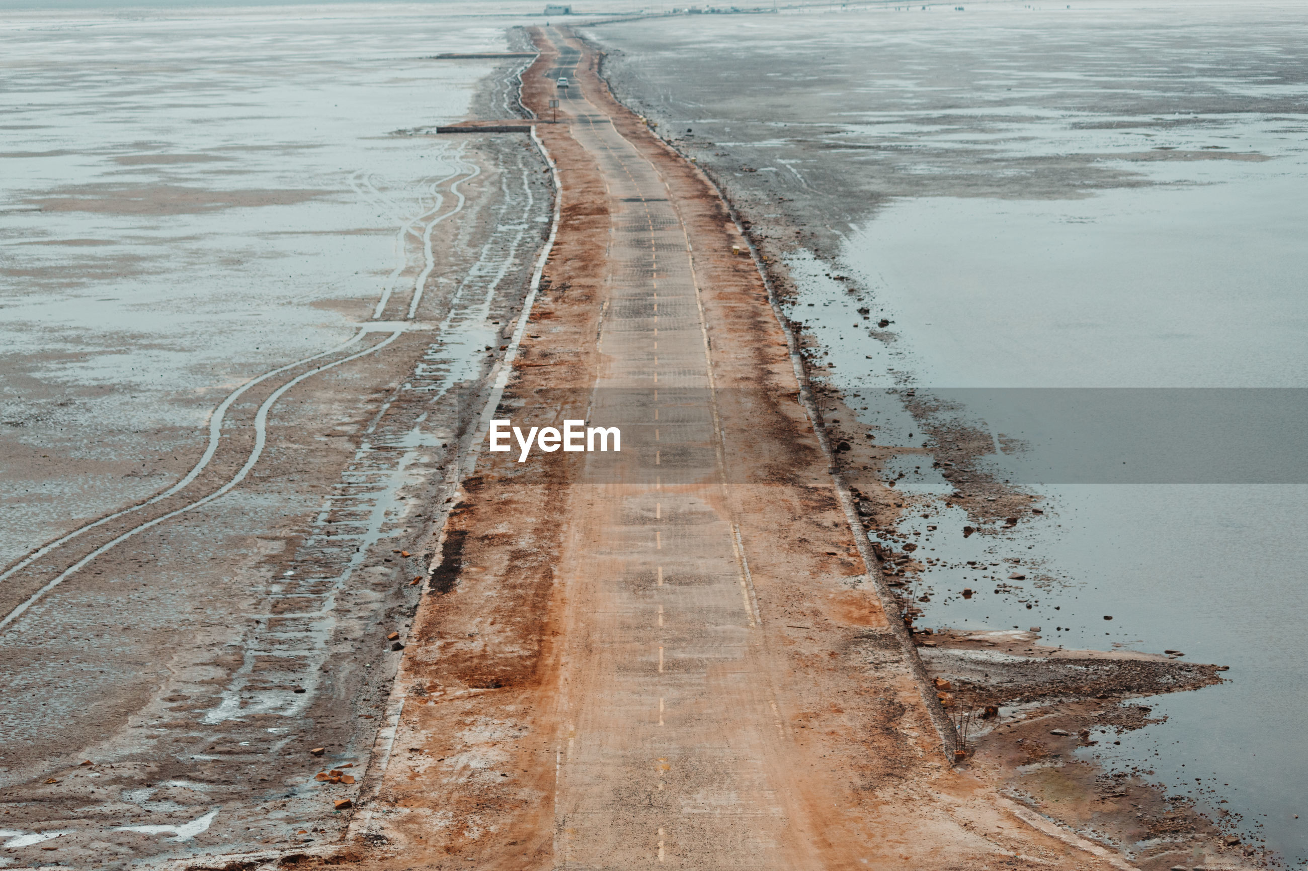 High angle view of wet road