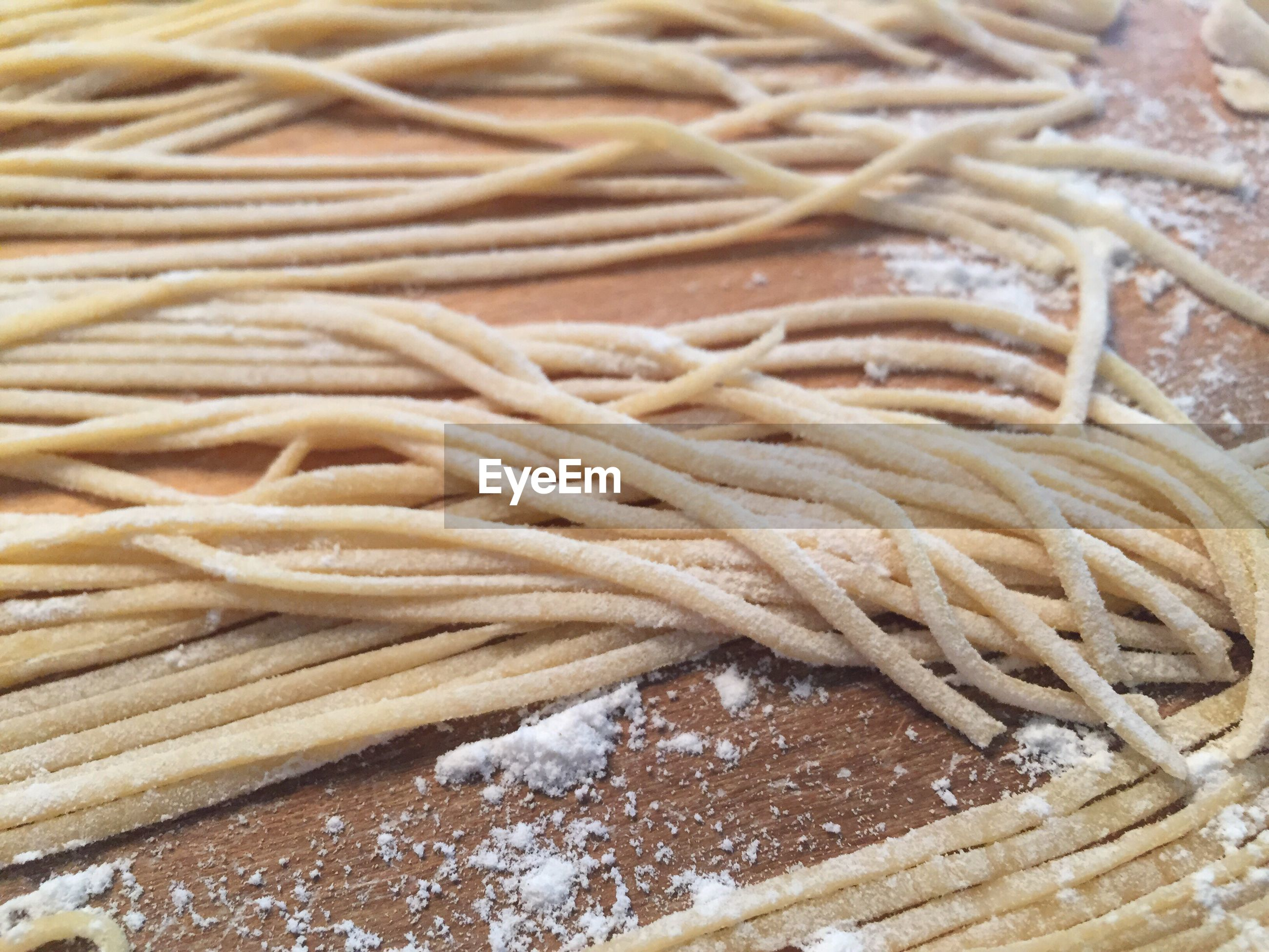 Close-up of noodles being made