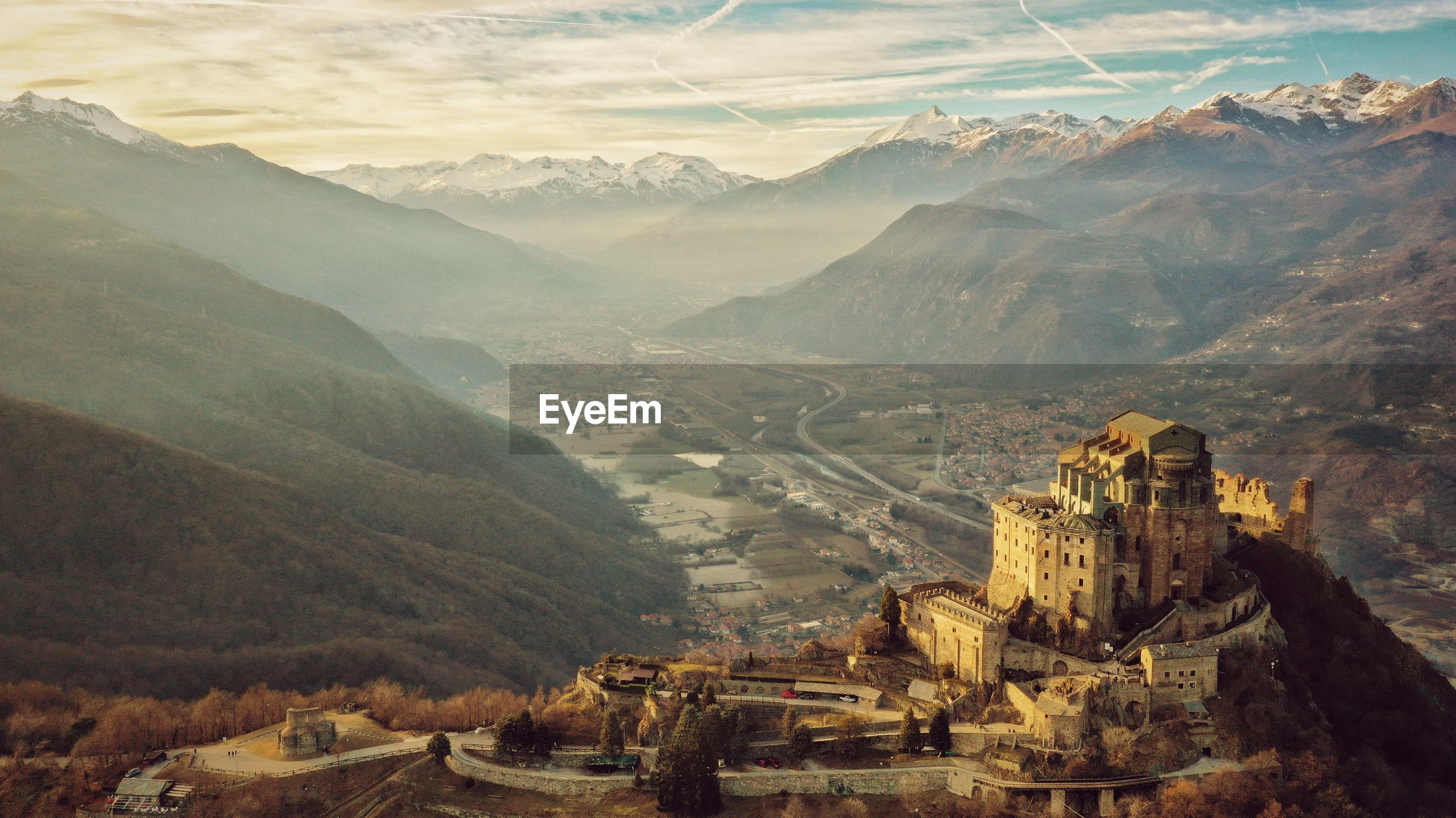 High angle view of castle against mountains