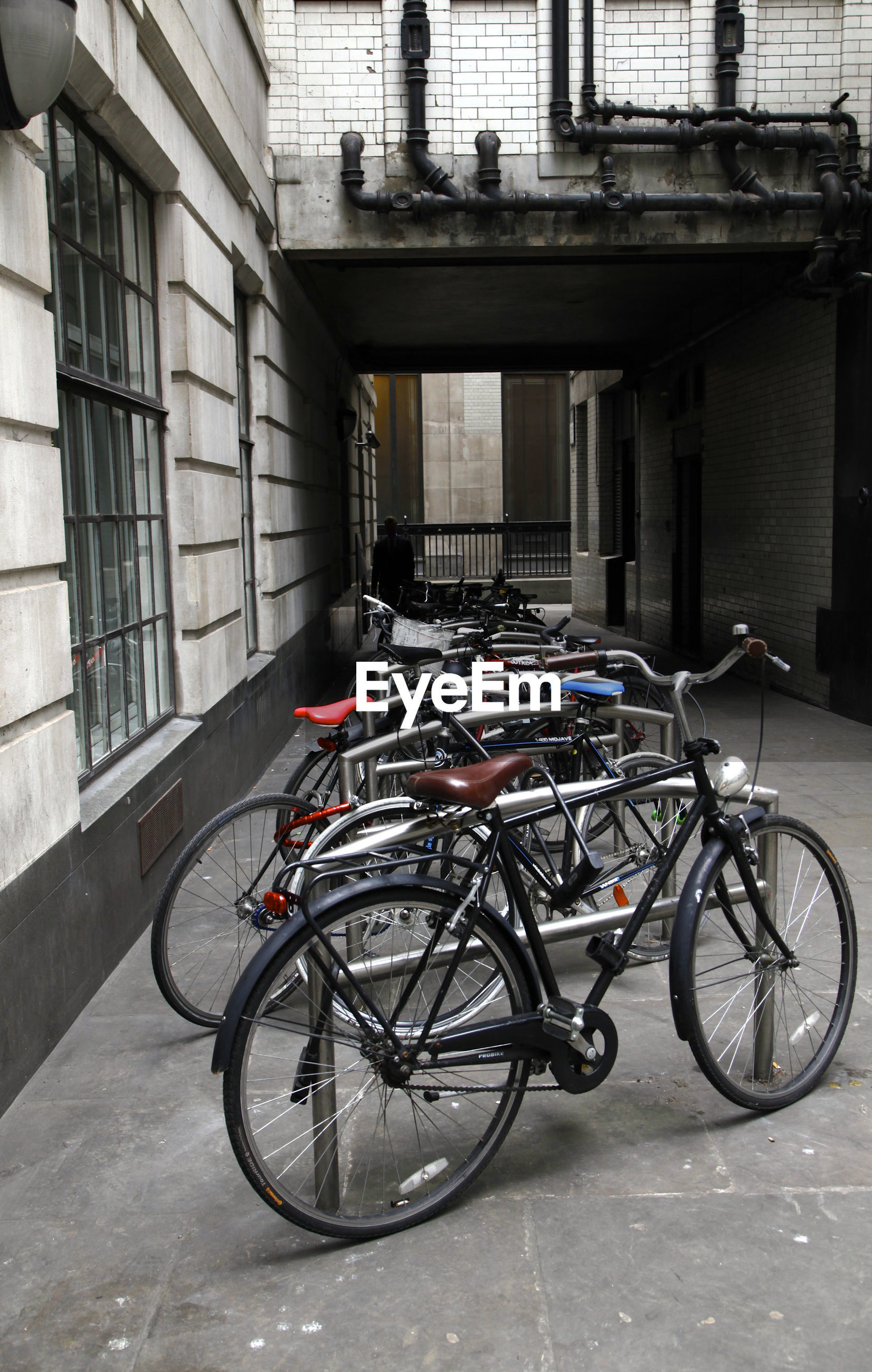 Bicycles parked on street outside building