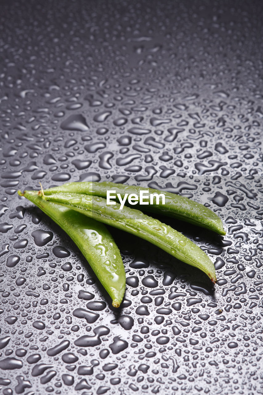High angle view of pea pods on wet table