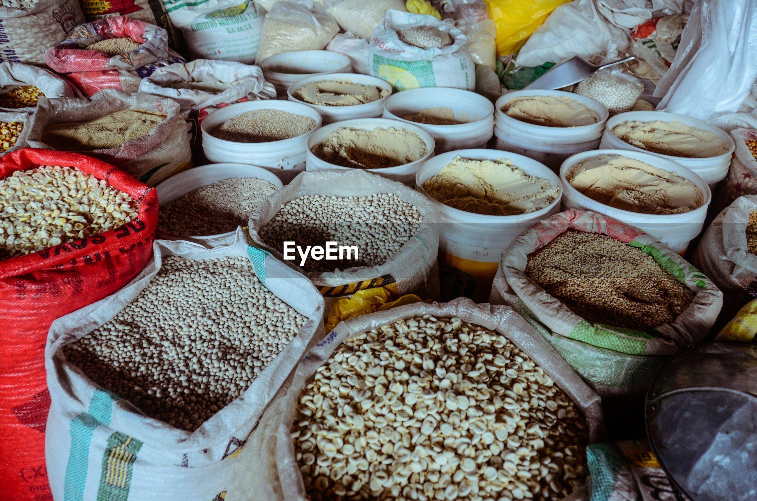 Variety of food grain displayed for sale