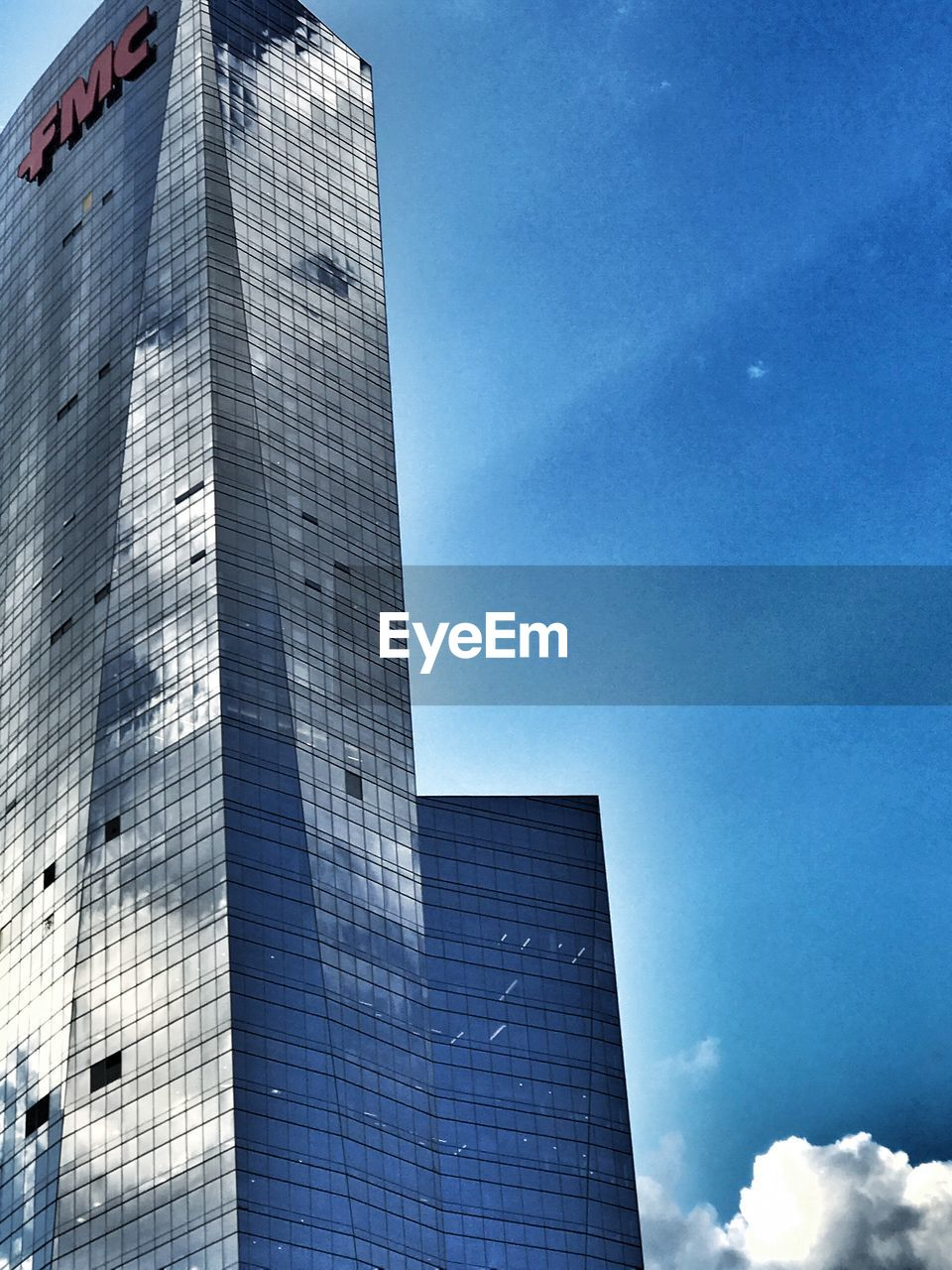 architecture, skyscraper, building exterior, built structure, modern, day, sky, no people, low angle view, outdoors, blue, tall, city