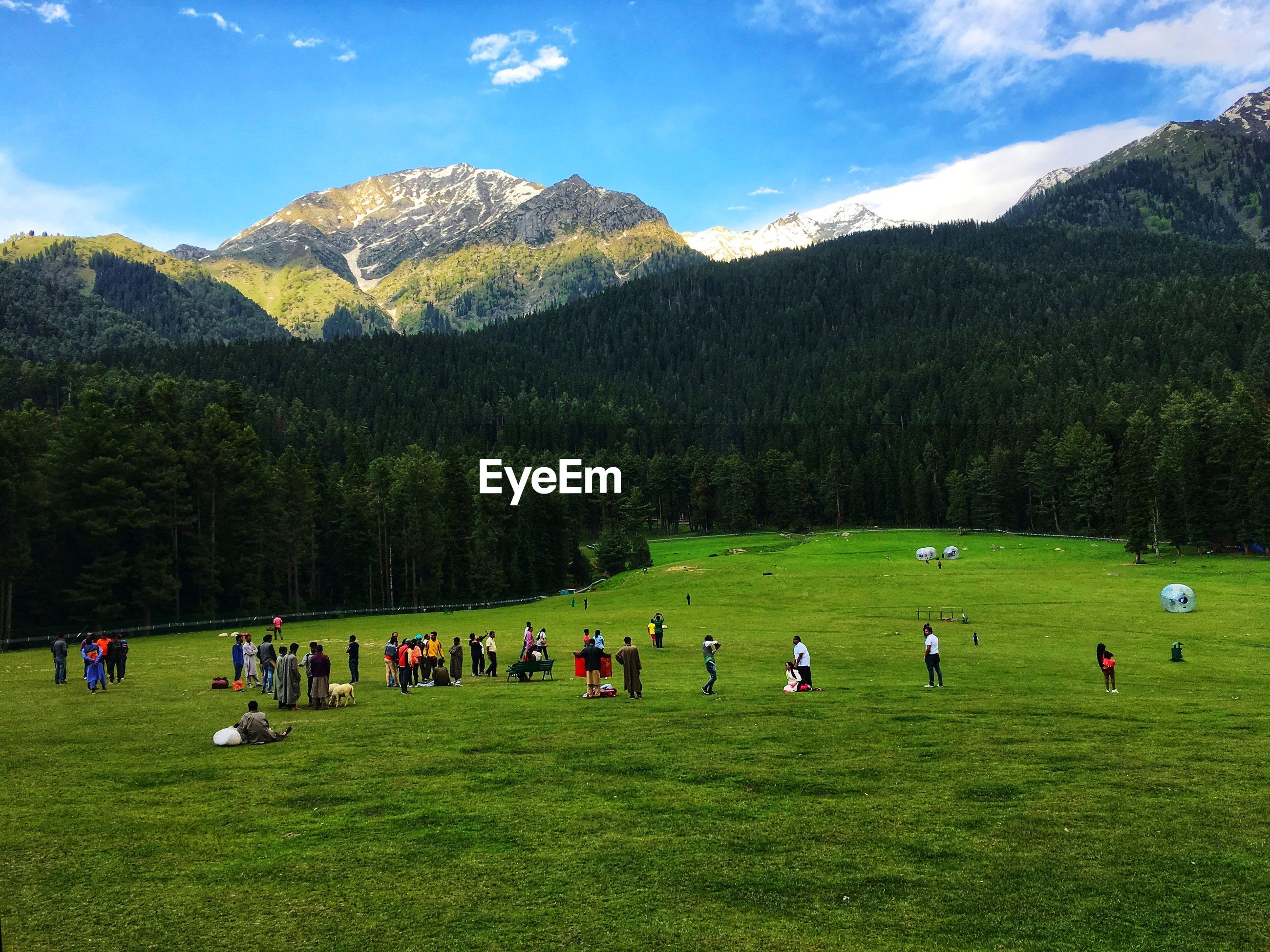 People on field against mountains