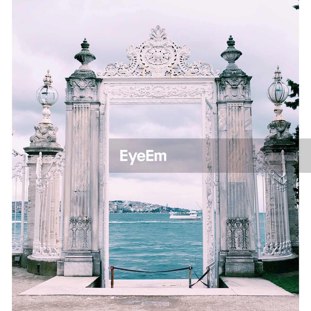 Gate Against River At Dolmabahce Palace