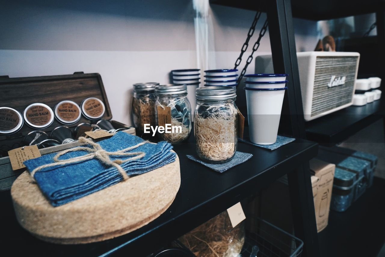 Close-Up Of Food In Jars And Containers On Shelf