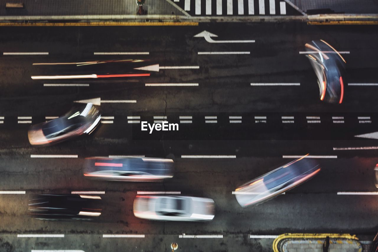 High Angle View Of Blurred Vehicles On Road
