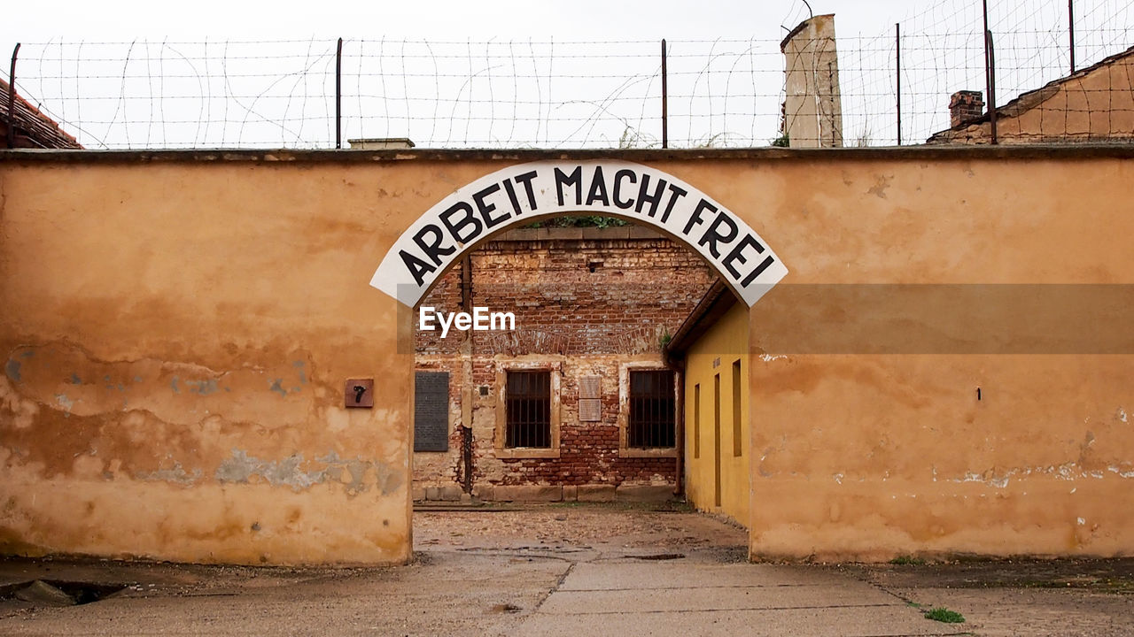 Text On Entrance Of Theresienstadt Concentration Camp