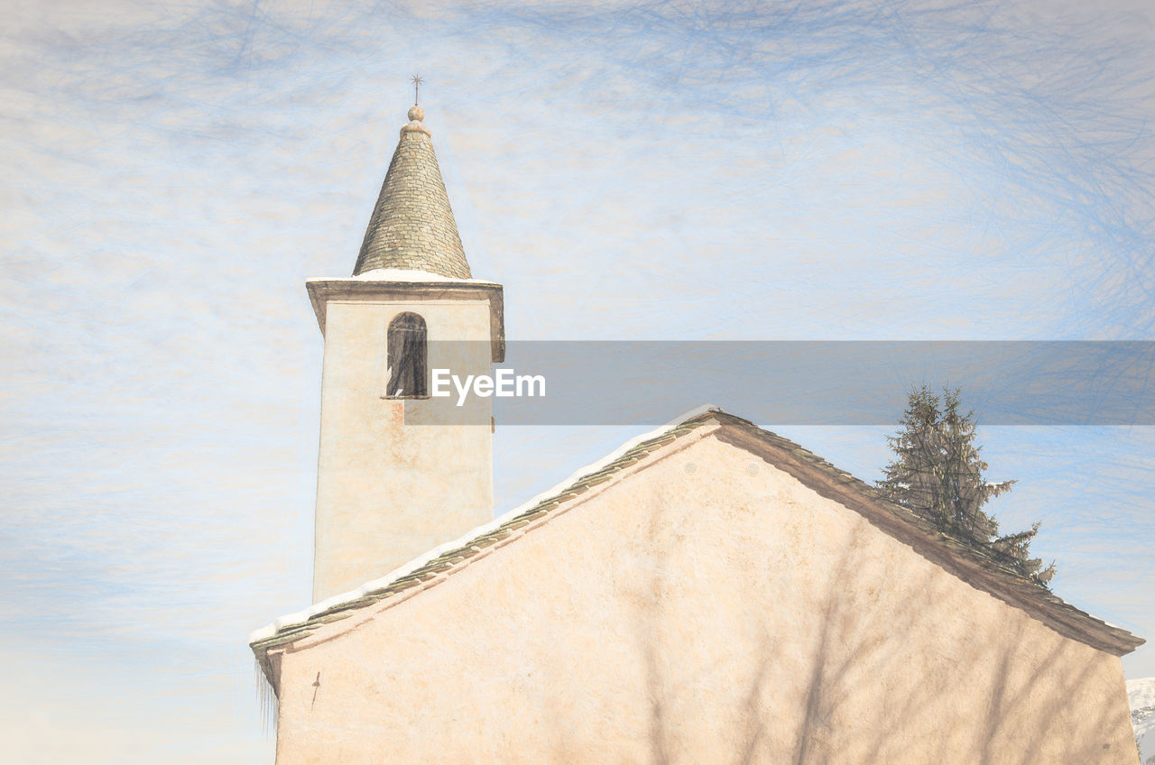 architecture, built structure, building exterior, no people, low angle view, religion, outdoors, spirituality, day, place of worship, history, sky, bell tower
