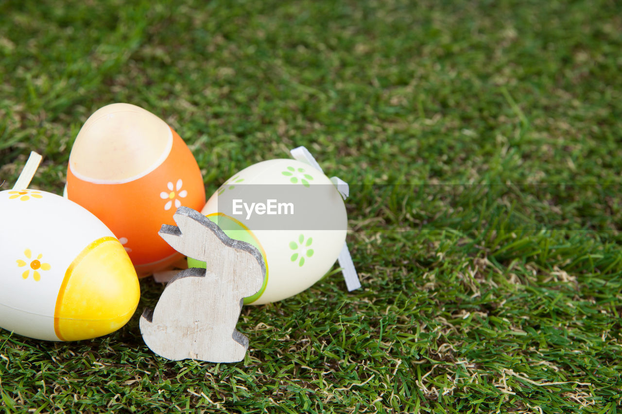 egg, plant, grass, no people, nature, field, land, close-up, day, eggshell, focus on foreground, orange color, green color, easter egg, animal, animal themes, outdoors, growth, animal representation, orange