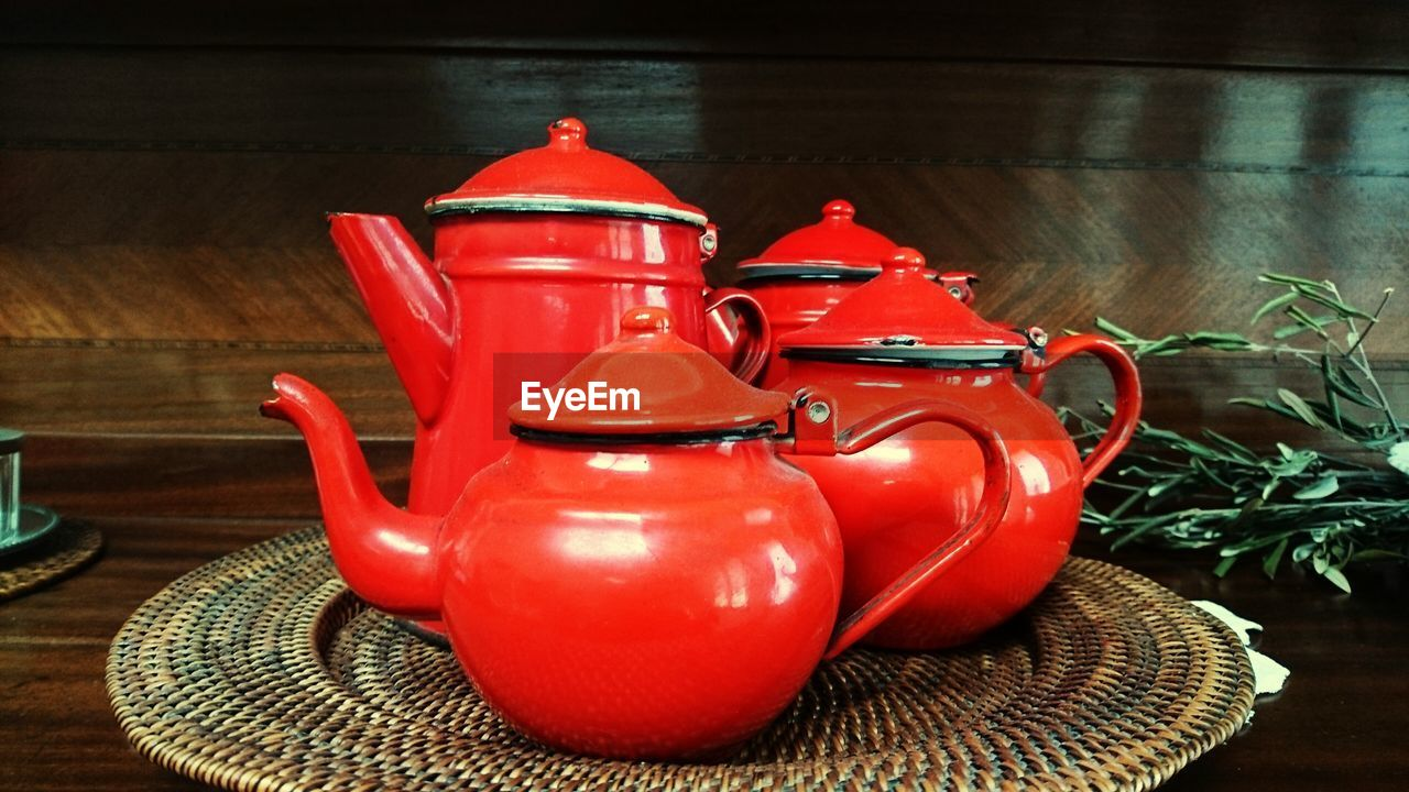 red, still life, indoors, table, no people, teapot, close-up, day