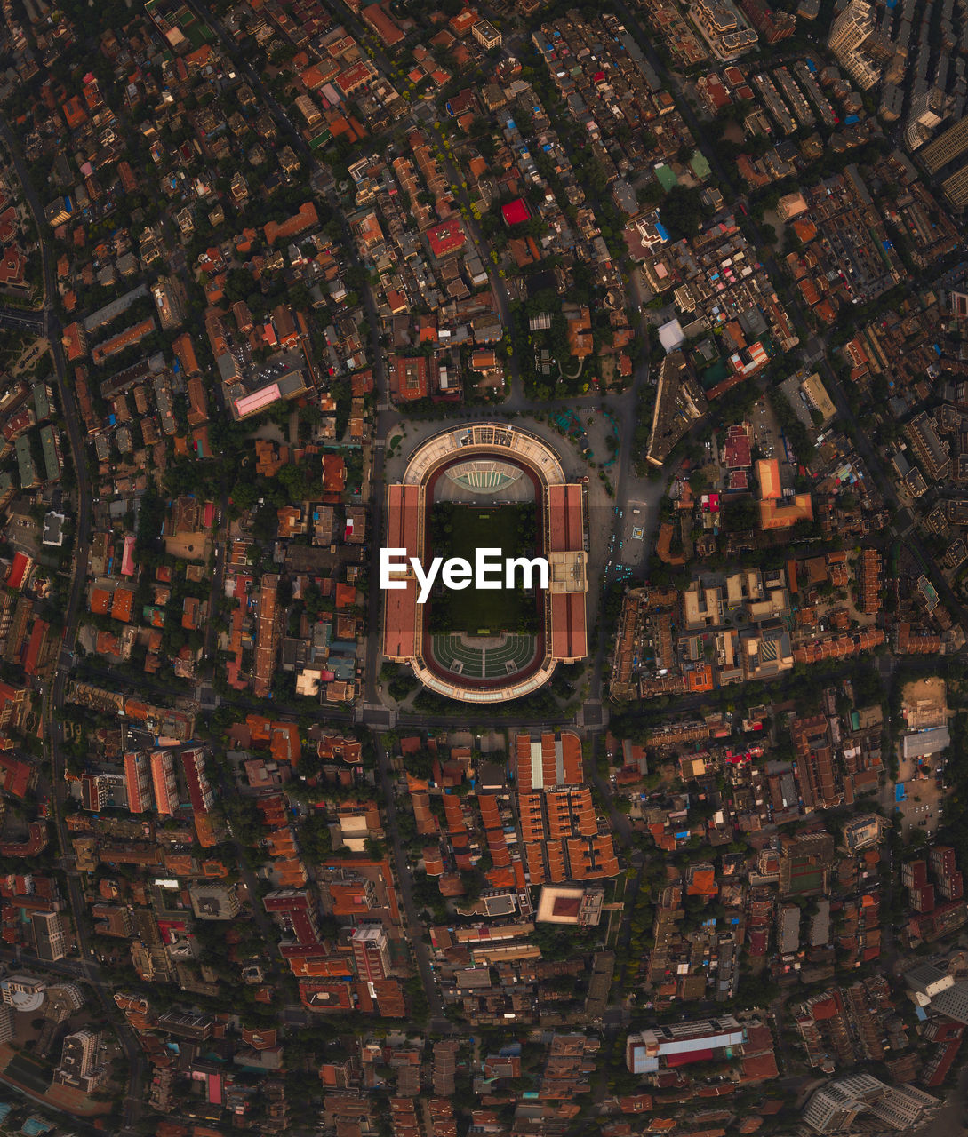 Aerial fish-eye lens shot of cityscape