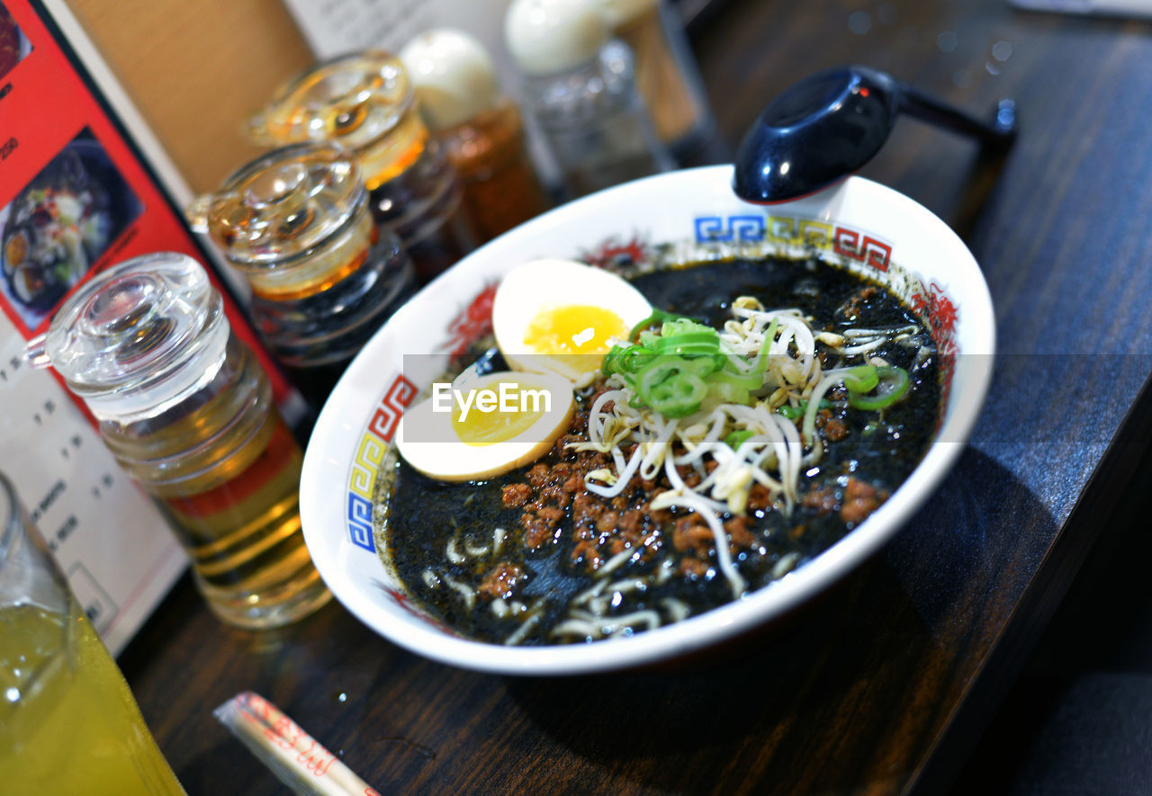 table, food and drink, food, freshness, healthy eating, ready-to-eat, no people, high angle view, wellbeing, bowl, still life, indoors, serving size, drink, close-up, meal, glass, egg, selective focus, japanese food