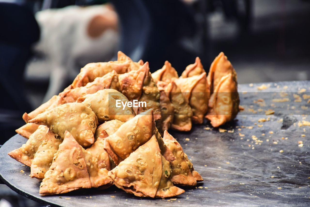 High angle view of samosas on market stall