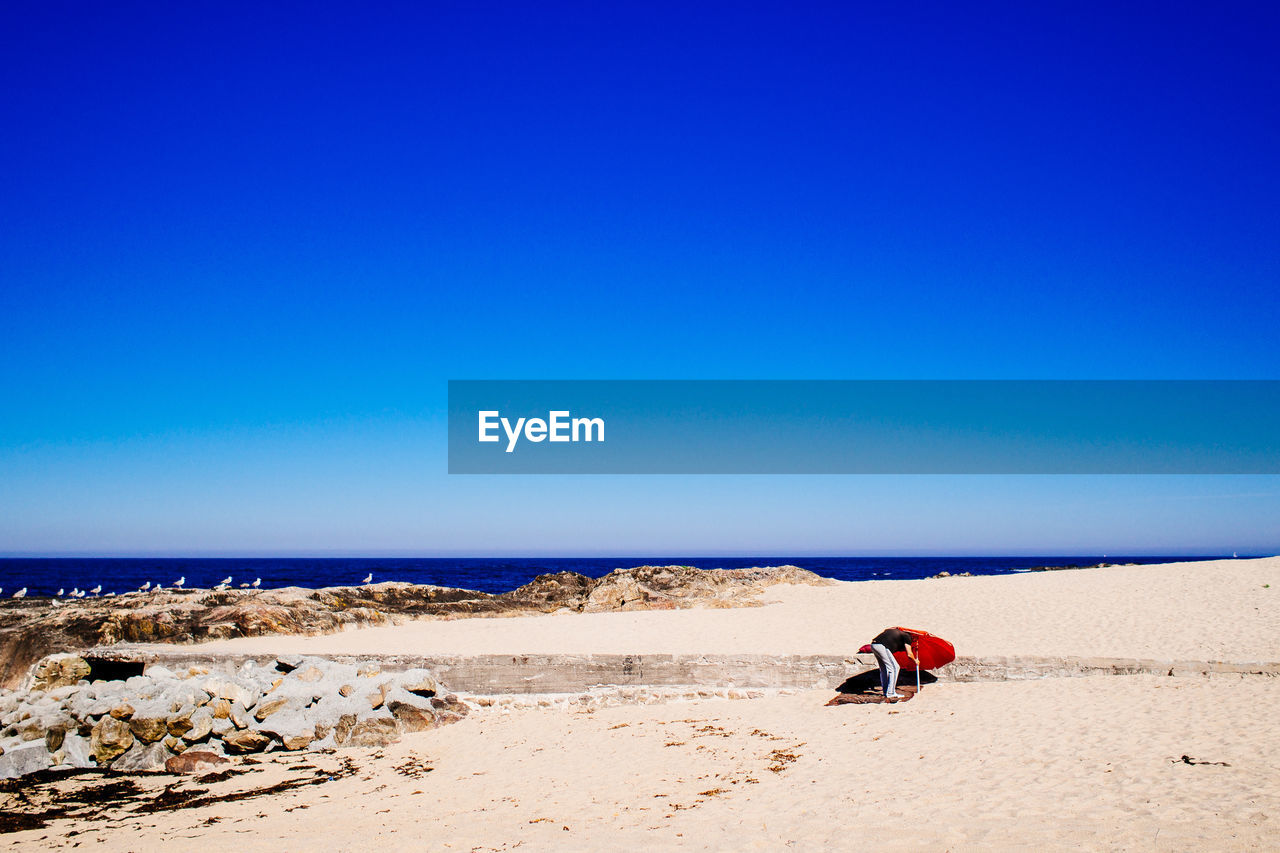 SCENIC VIEW OF SANDY BEACH AGAINST CLEAR SKY