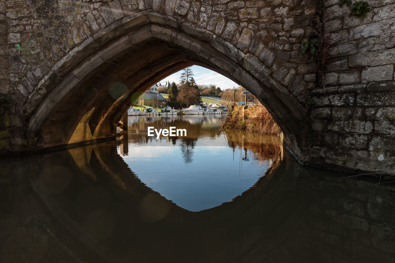 arch, architecture, water, reflection, built structure, no people, waterfront, nature, day, tree, lake, tranquility, outdoors, building exterior, plant, history, bridge, wall, arch bridge, arched