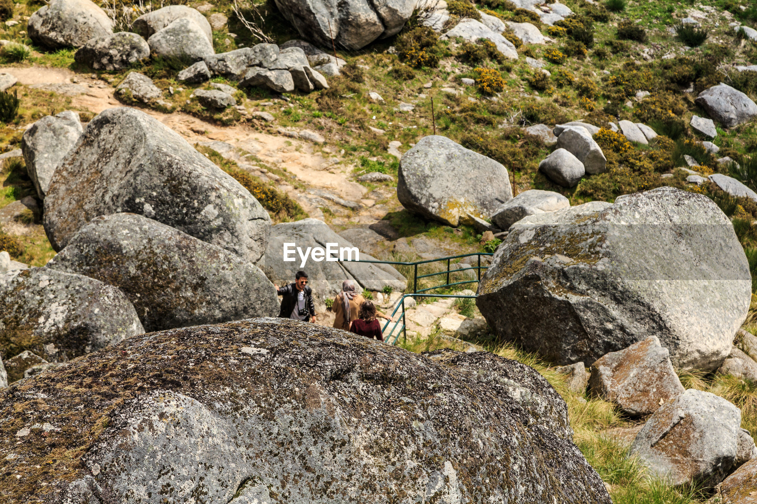 High angle view of people on mountain