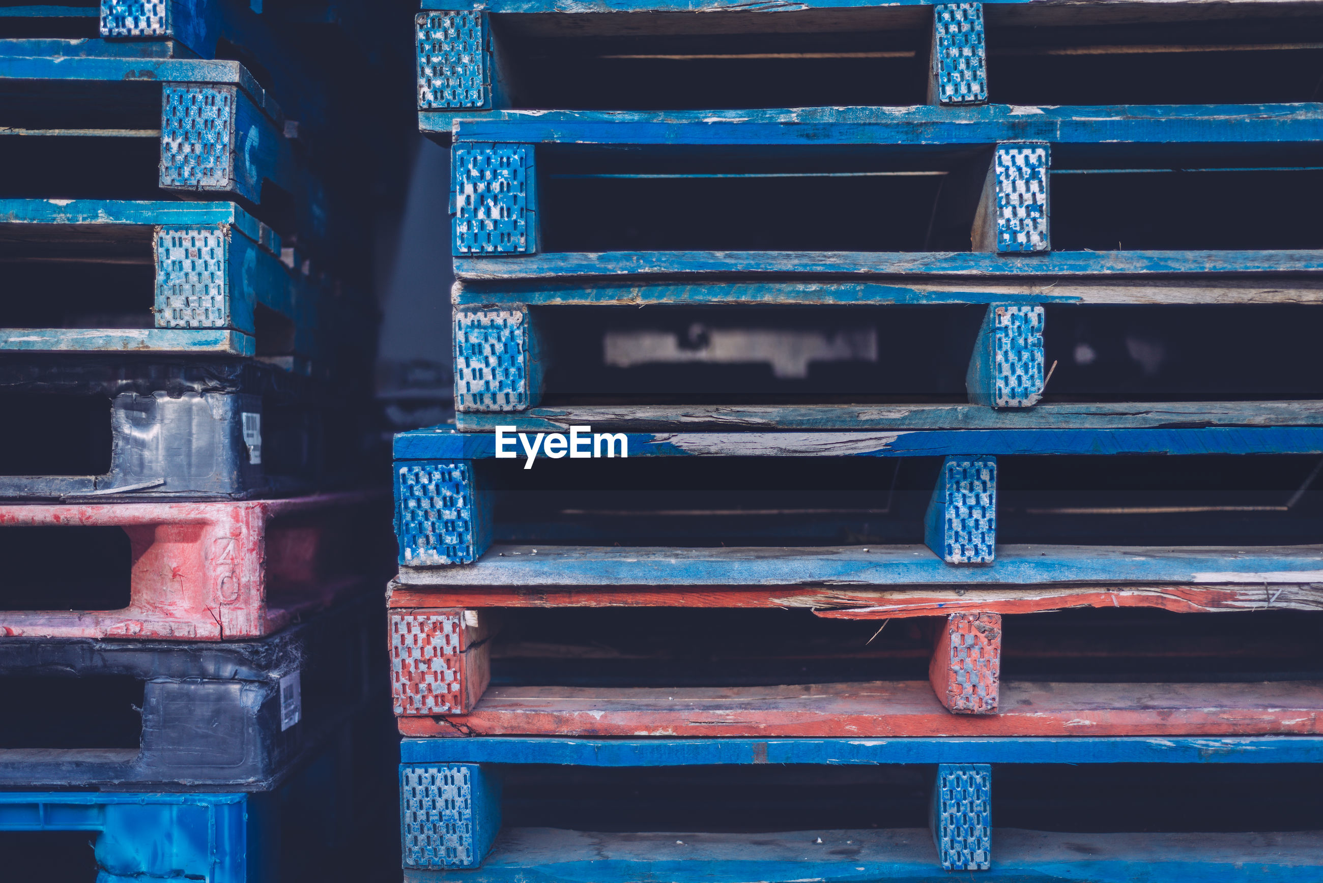 Stack of blue wooden crates