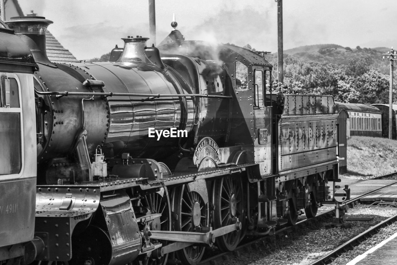 rail transportation, track, railroad track, mode of transportation, train - vehicle, transportation, train, day, steam train, public transportation, locomotive, outdoors, nature, land vehicle, no people, sky, smoke - physical structure, livestock, motion, shunting yard