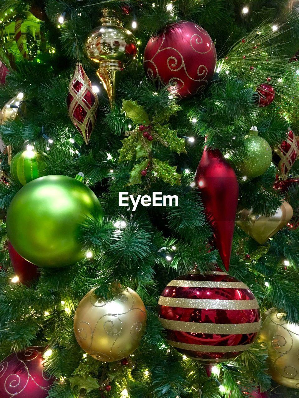 Full frame shot of decoration on christmas tree