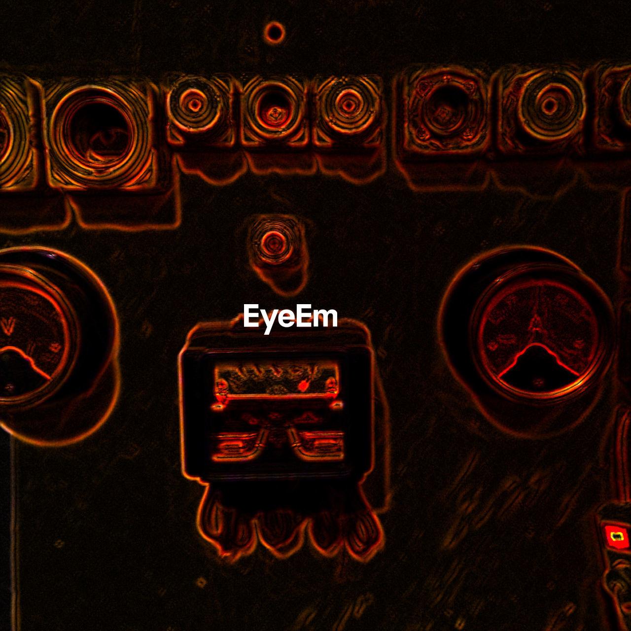 illuminated, text, indoors, no people, night, close-up, neon