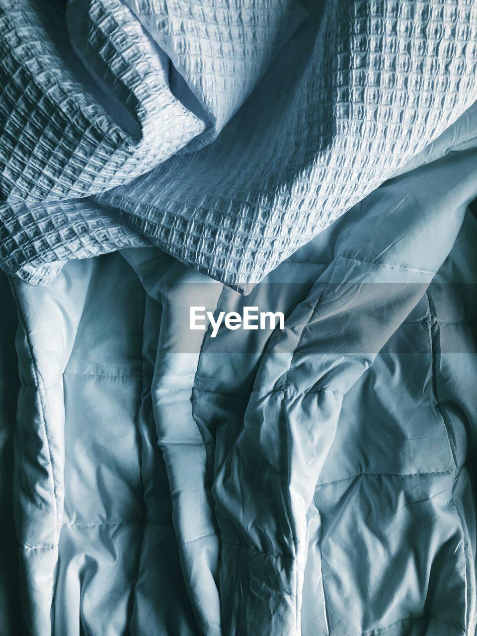 Full frame shot of sheets in bed