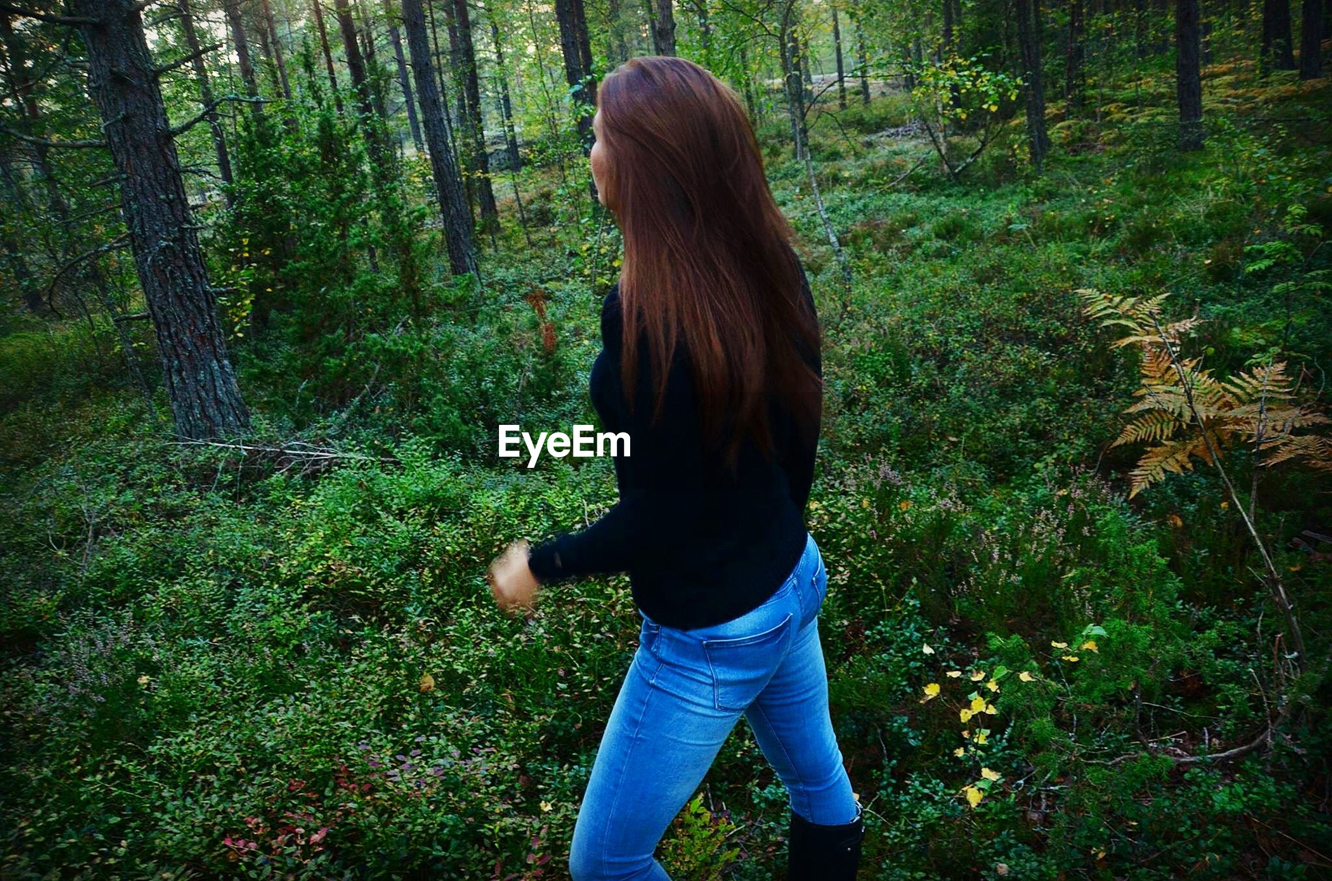 tree, rear view, casual clothing, standing, lifestyles, forest, leisure activity, three quarter length, long hair, grass, full length, tree trunk, waist up, person, nature, outdoors, day, growth