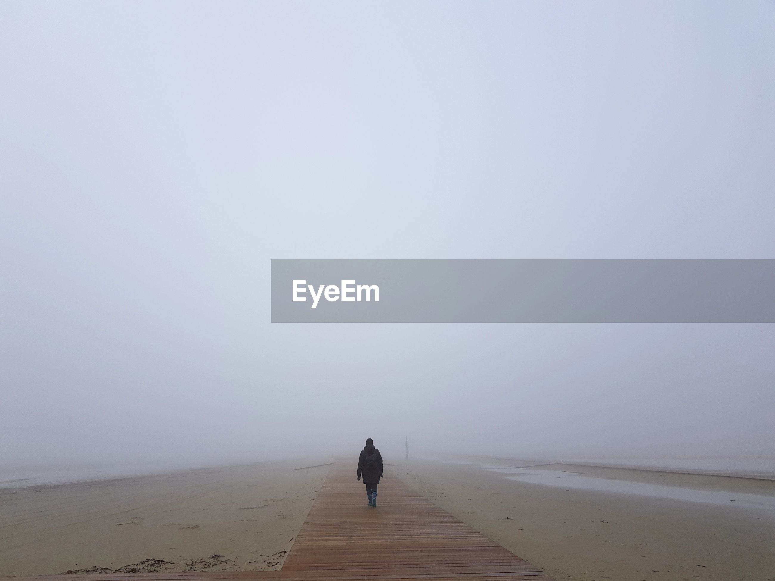 Rear view of woman standing amidst fog at beach