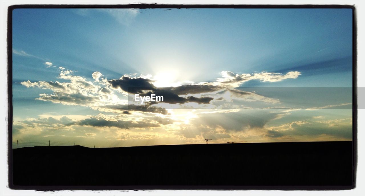 sun, sky, silhouette, sunset, sunlight, sunbeam, nature, no people, outdoors, tranquil scene, scenics, beauty in nature, cloud - sky, tranquility, landscape, day