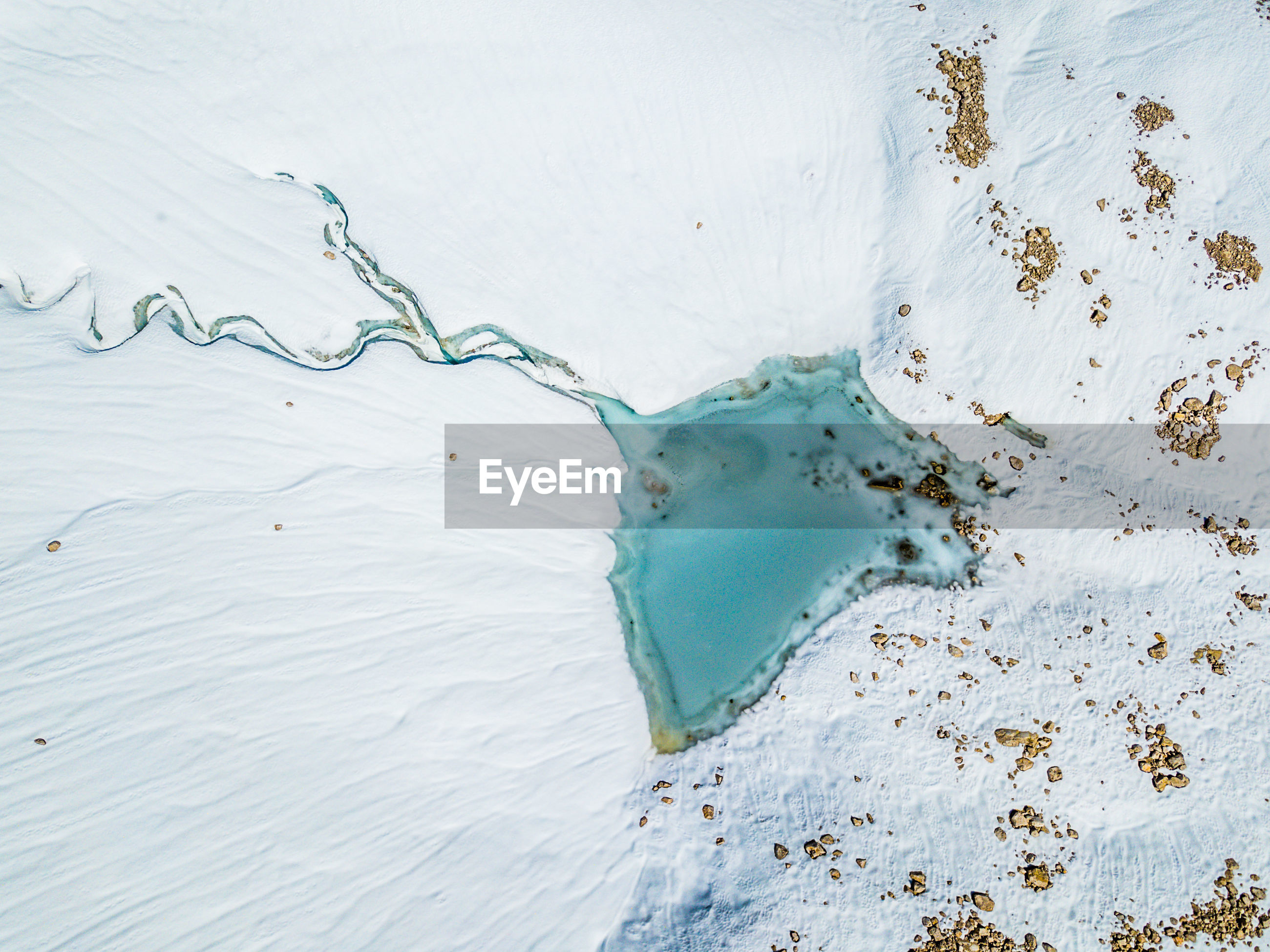 Aerial view of glacial lake