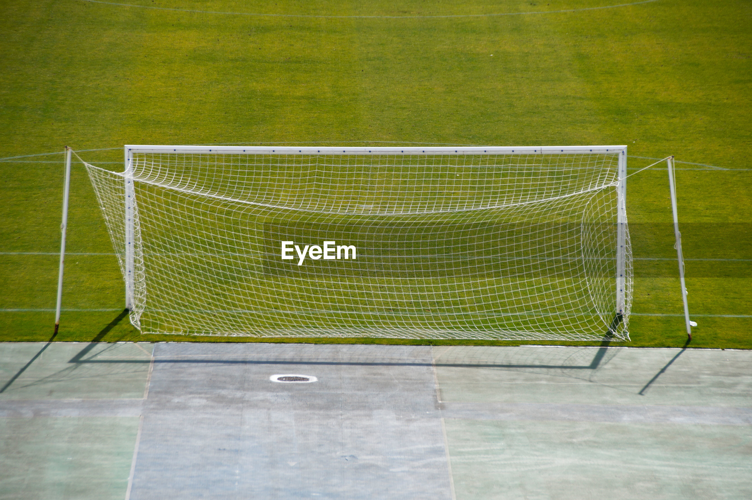 High angle view of goal post on field
