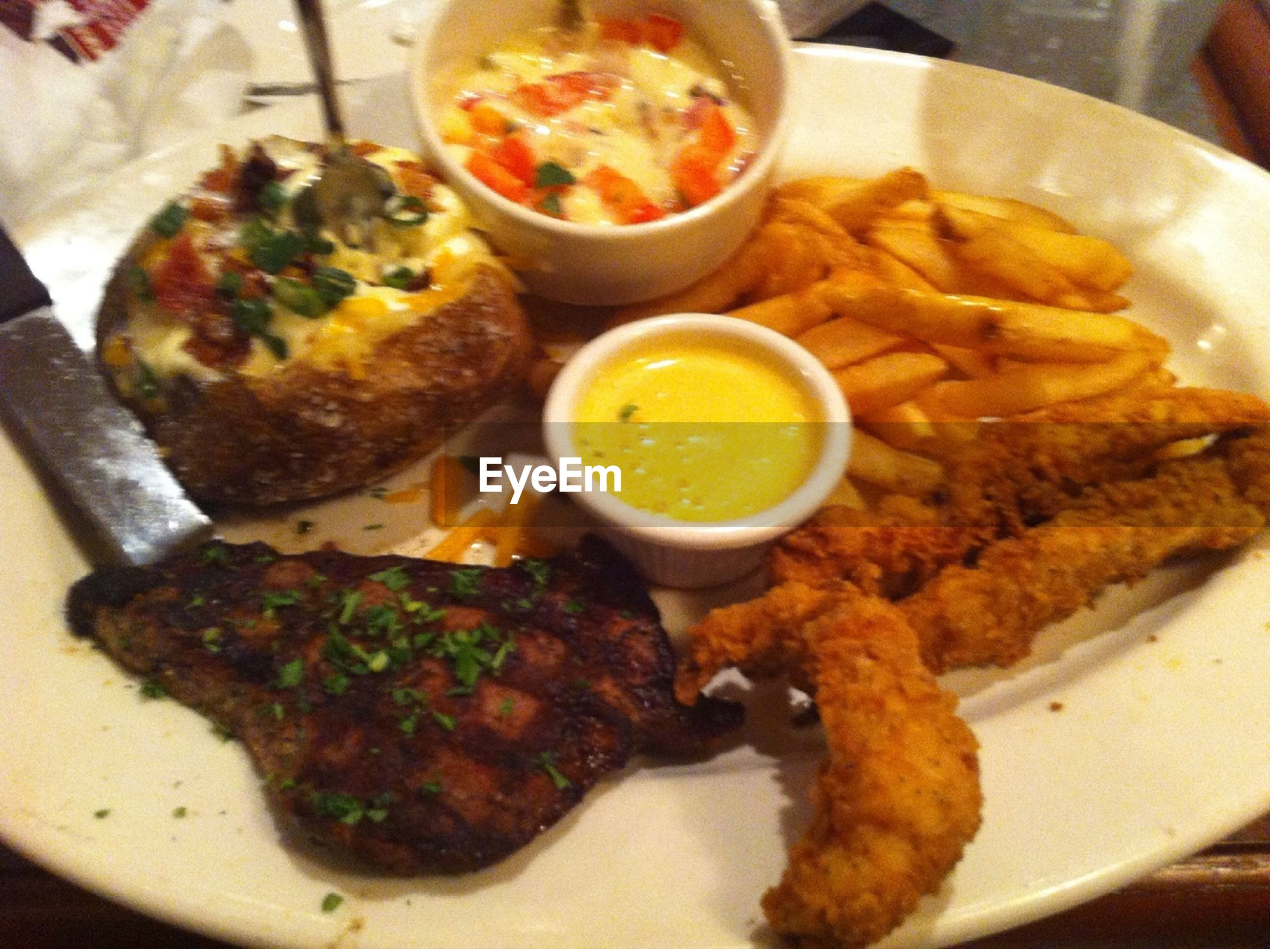 food and drink, food, ready-to-eat, freshness, plate, indoors, meal, serving size, still life, meat, close-up, healthy eating, table, served, high angle view, sauce, indulgence, fried, cooked, bowl