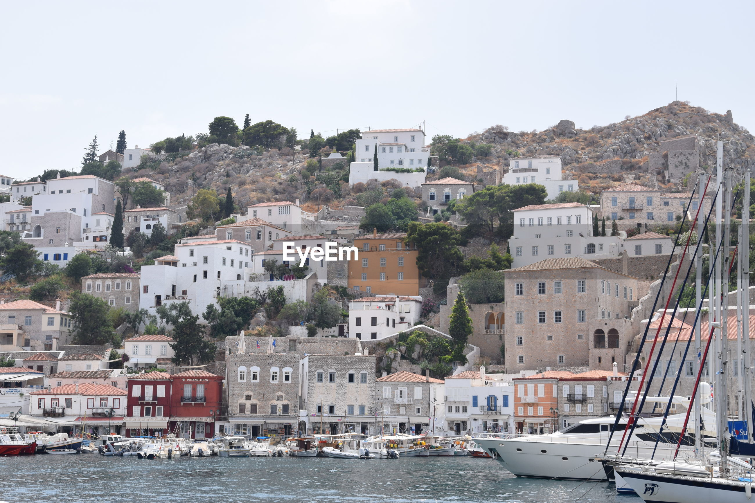 VIEW OF TOWNSCAPE BY SEA AGAINST CLEAR SKY