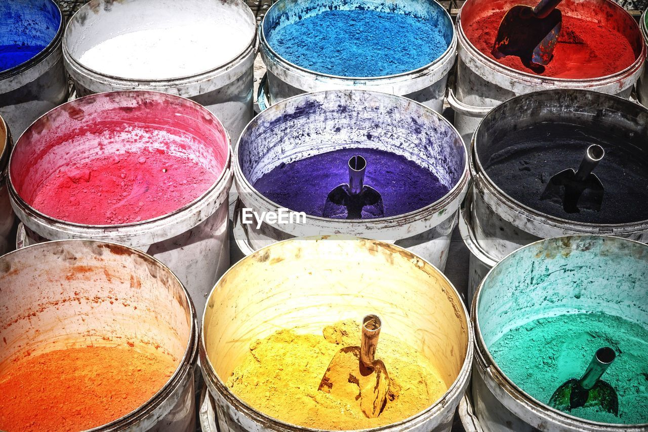 choice, variation, container, for sale, retail, high angle view, multi colored, market, no people, day, outdoors, powder paint, close-up, holi