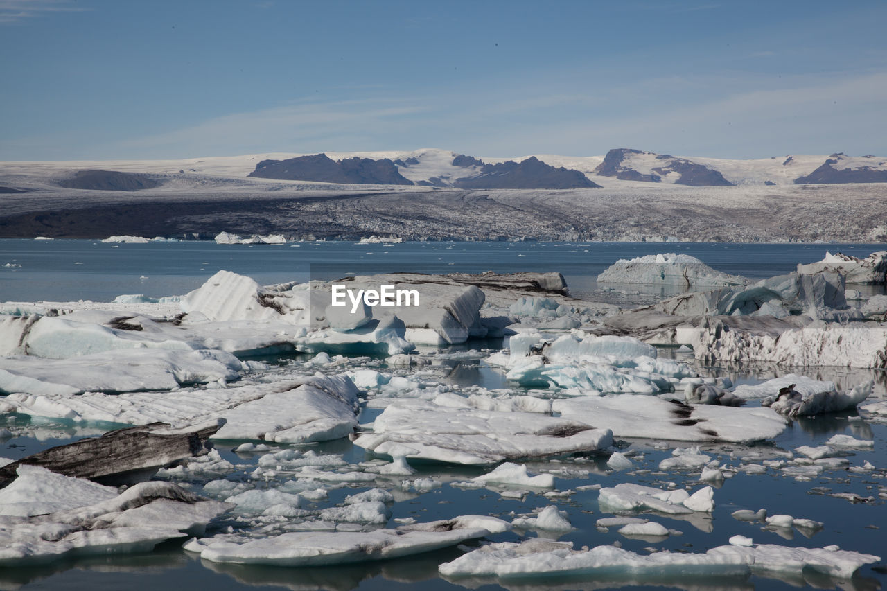 Scenic View Of Icebergs In Lake Against Sky