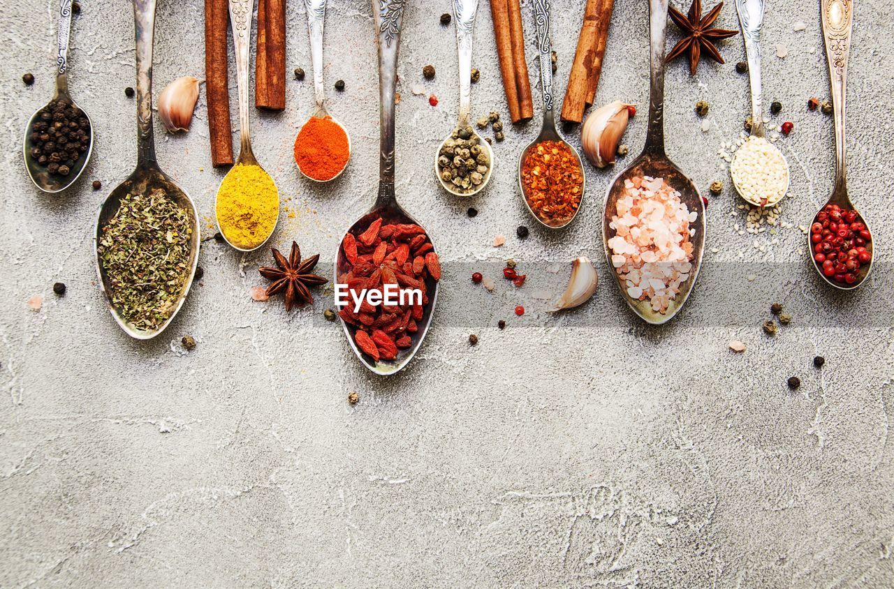 High Angle View Of Spices In Spoons On Table