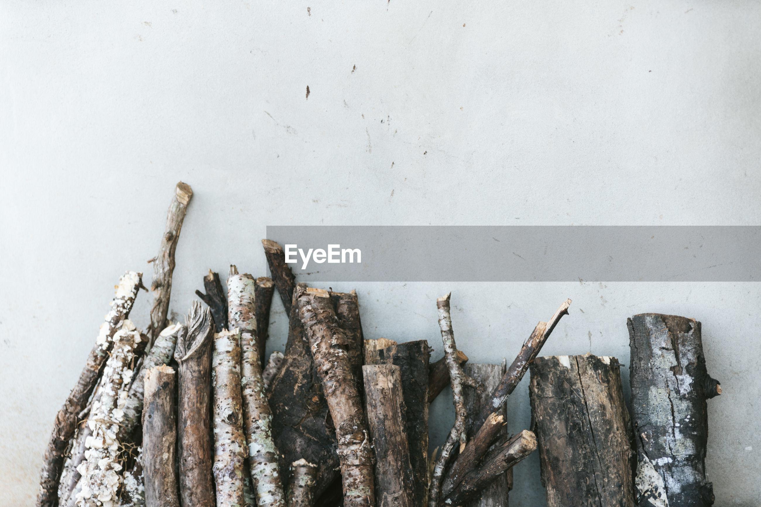 Firewood against wall