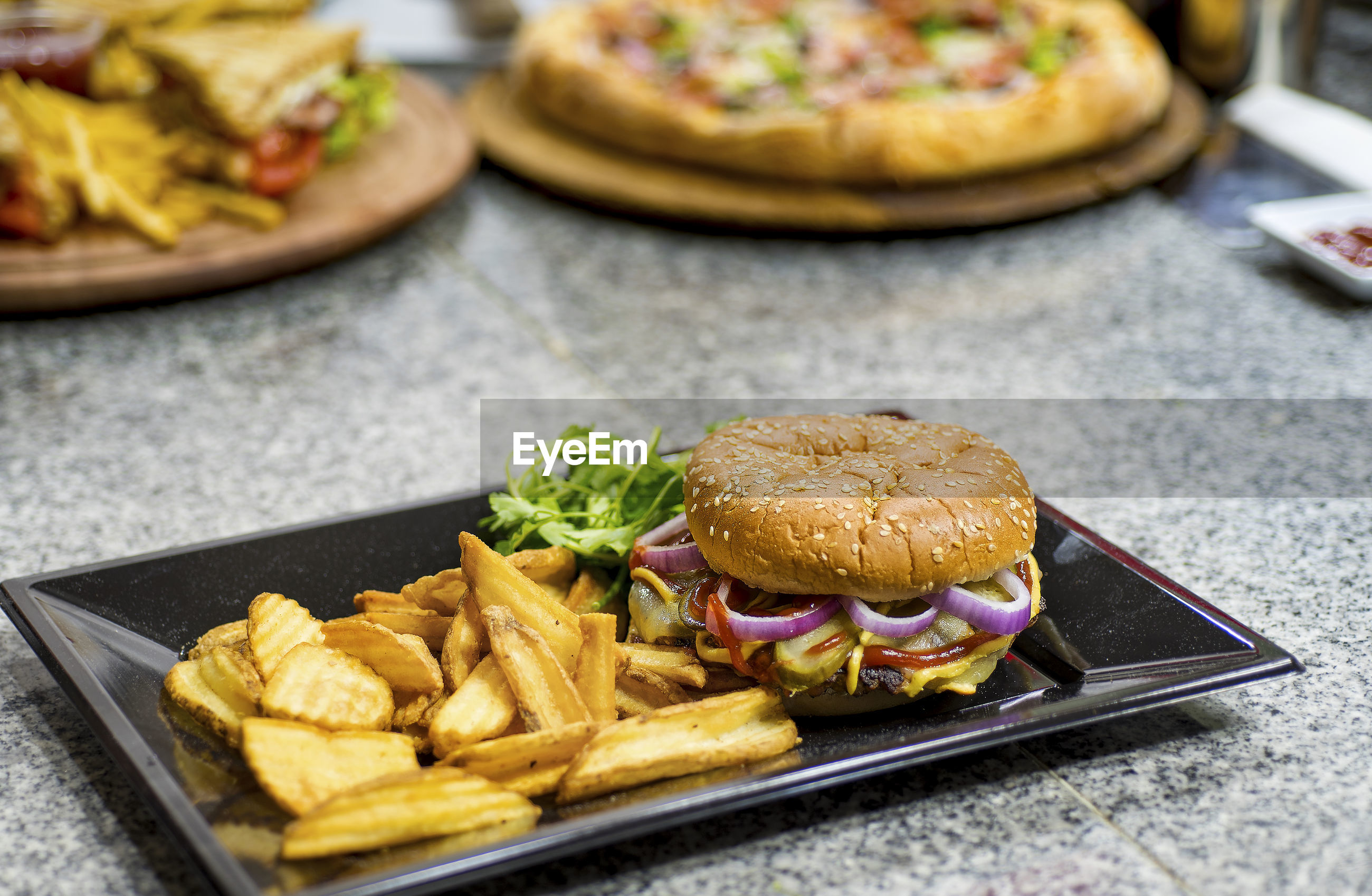 Close-up of fast food on table
