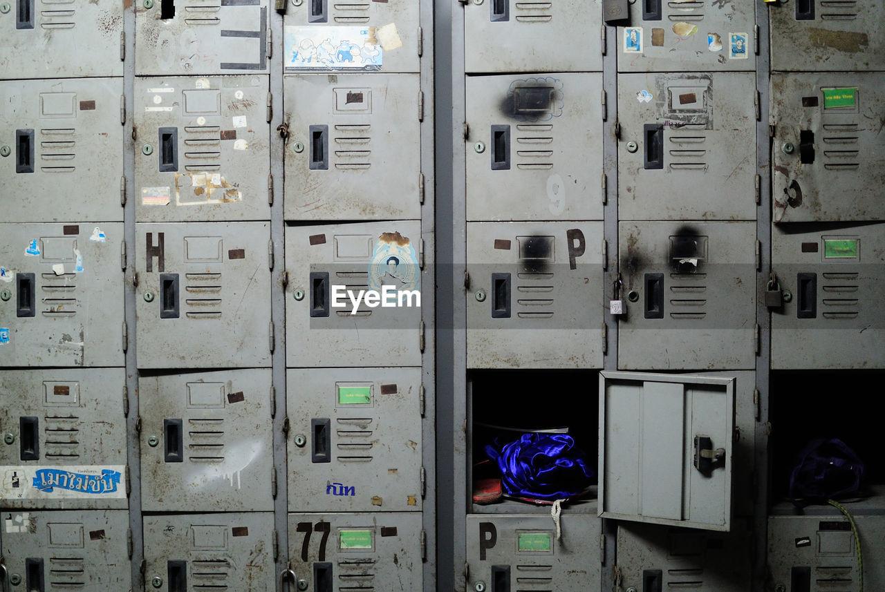Full frame shot of rusty lockers