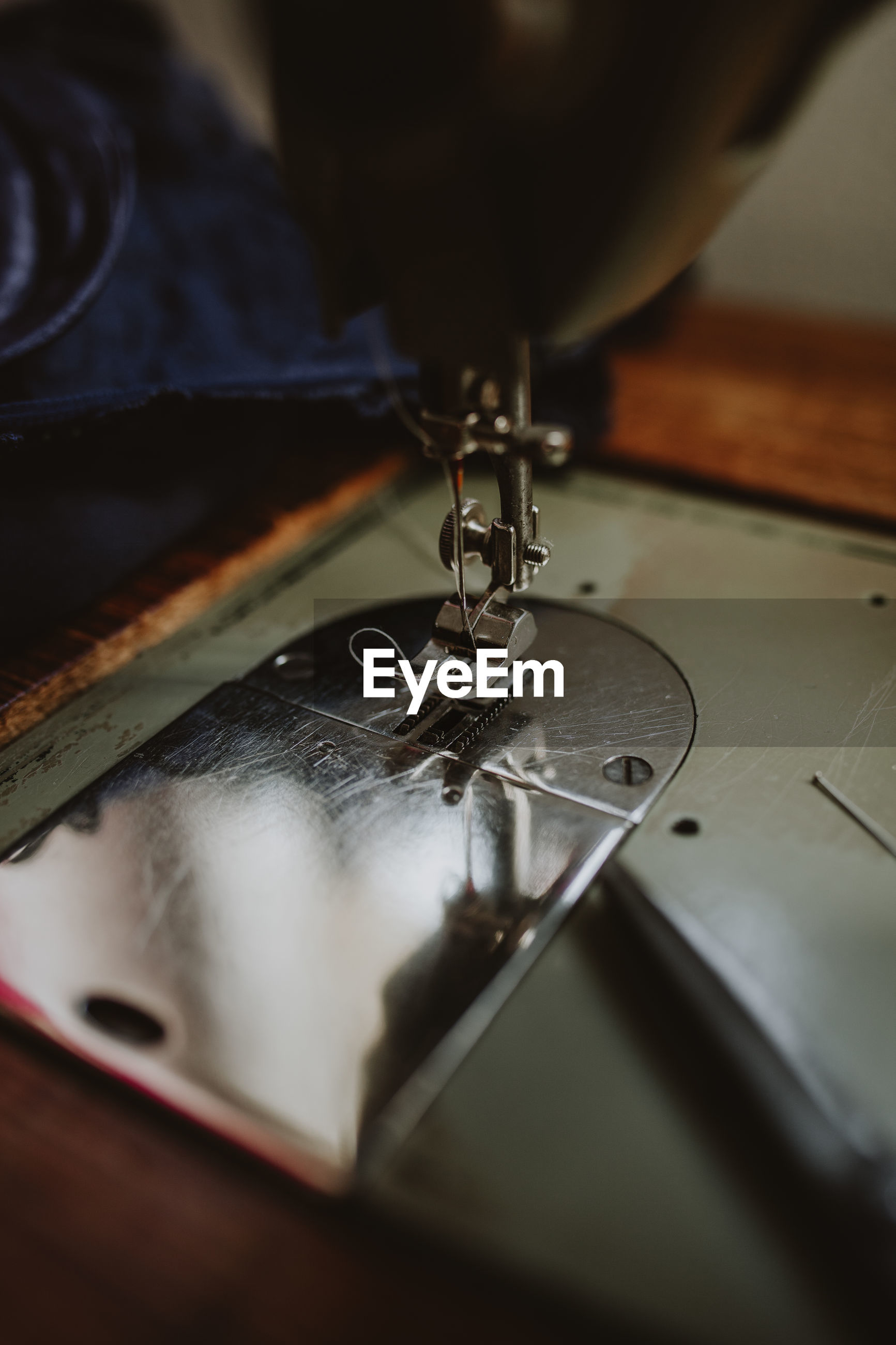 High angle view of sewing machine