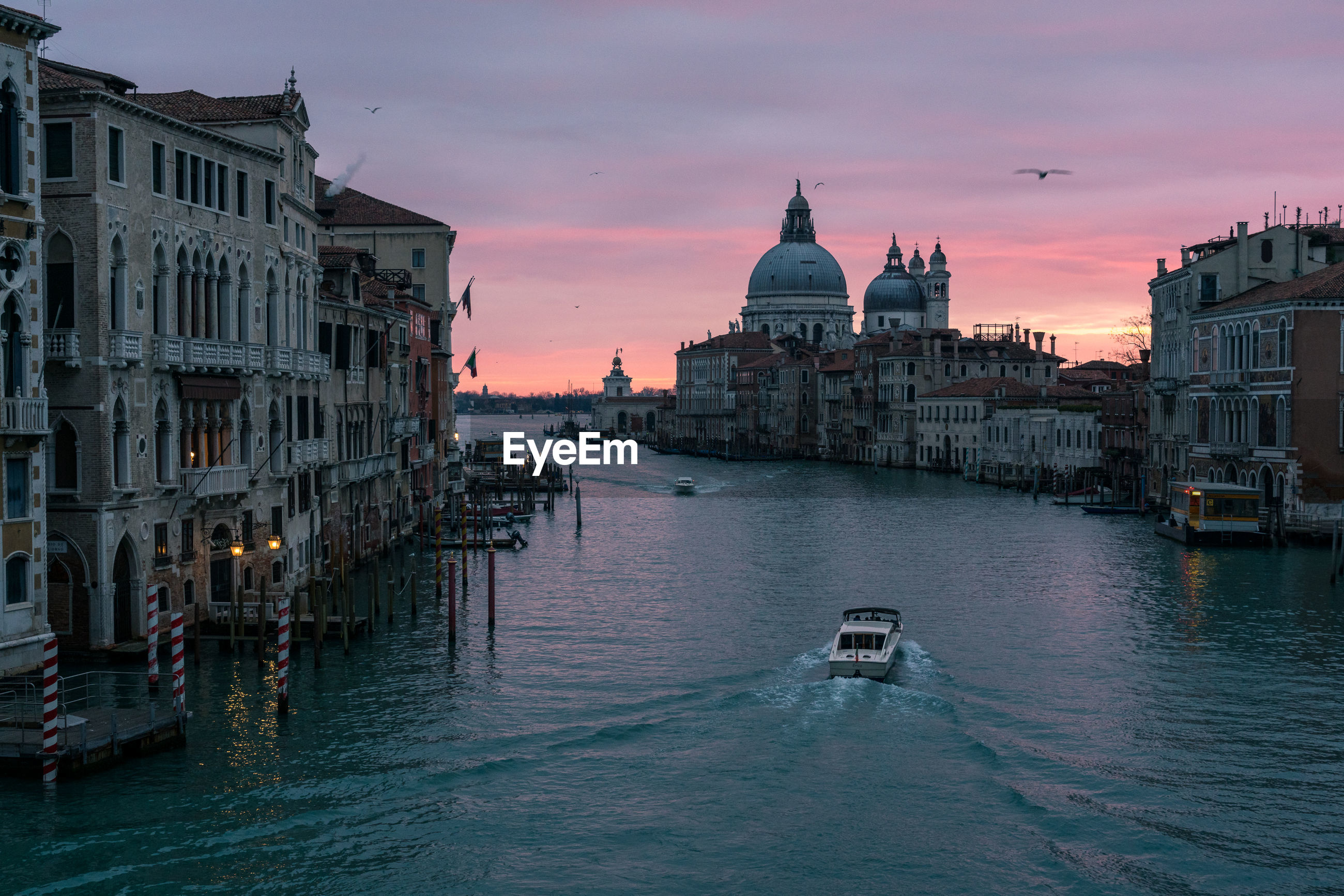 Sunrise view from the accademia bridge in venice italy