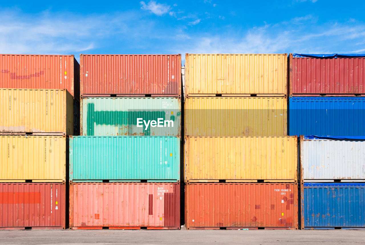 Cargo Containers Stacked At Dock