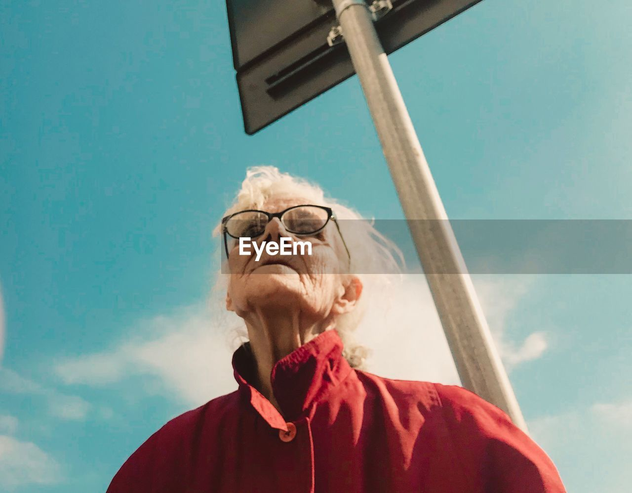 low angle view, glasses, headshot, portrait, sky, front view, senior adult, eyeglasses, one person, real people, lifestyles, leisure activity, adult, day, cloud - sky, senior women, nature, senior men, outdoors, hairstyle, white hair